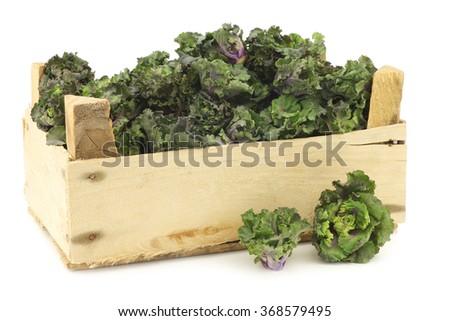 freshly harvested kale sprouts in a wooden crate on a white background - stock photo