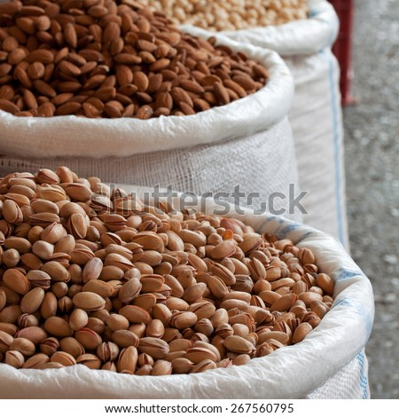 freshly harvested nuts - stock photo