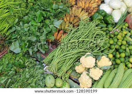 Freshly harvested produce in a market in Battambang, Cambodia - stock photo