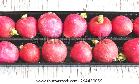 Freshly harvested radishes in a black punnet with retro filter added - stock photo