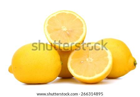 freshly lemons isolated on white  - stock photo