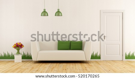 Freshly living room with modern sofa,closed door and grass decoration on wall - 3d rendering