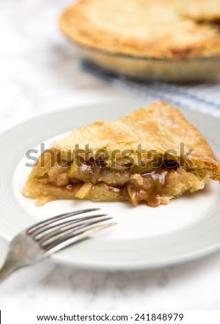 Freshly Made Apple Pie with Buttery Flaky Crust - stock photo