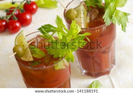 Freshly made Bloody Mary - stock photo