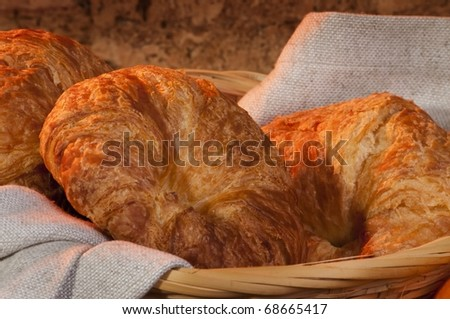 freshly made breads croissant served at breakfast - stock photo