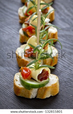 freshly made catering snacks - stock photo