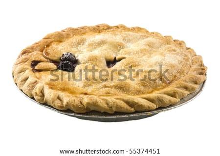 Freshly made Cherry pie in dish - stock photo