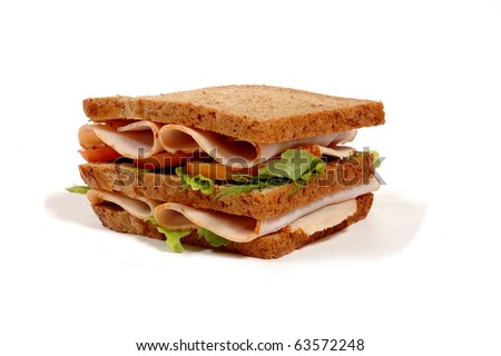 freshly made sandwich with meat - stock photo