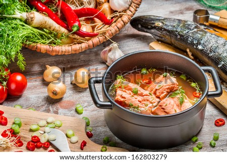 Freshly made �¢??�¢??soup of salmon with dill - stock photo