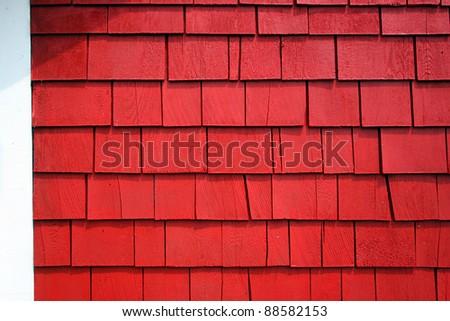 Freshly painted cedar shingle wall - stock photo