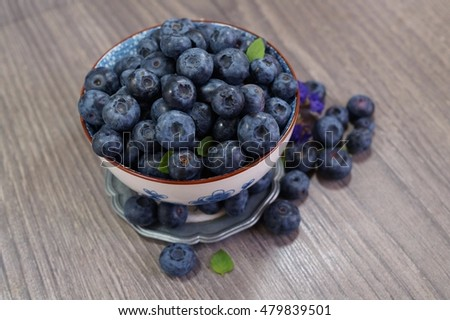 Freshly picked blueberries . Juicy and fresh blueberries - Blueberry antioxidant. - Concept for healthy eating and nutrition