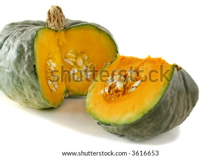 Freshly picked cut pumpkin ready for the pantry. - stock photo
