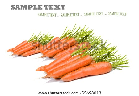 Freshly picked healthy carrots on a white background with space for text - stock photo