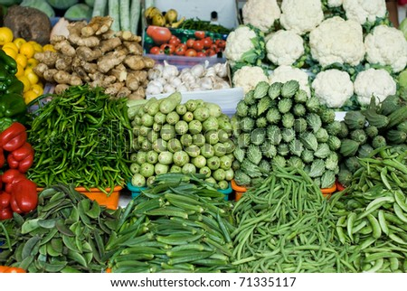 Freshly picked vegetables at an open-air market in Dubai, United Arab Emirates - stock photo