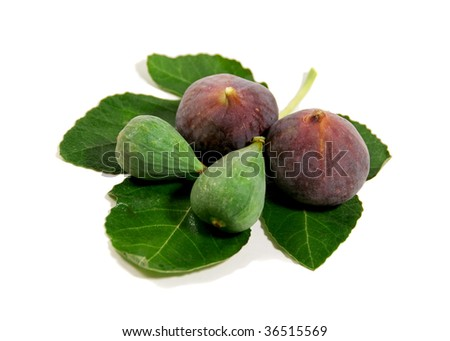 freshly picked young, green and ripe figs, isolated on white - stock photo