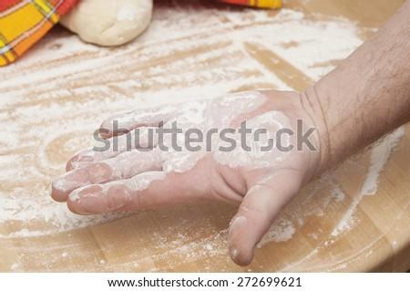 Freshly prepared bread dough - stock photo