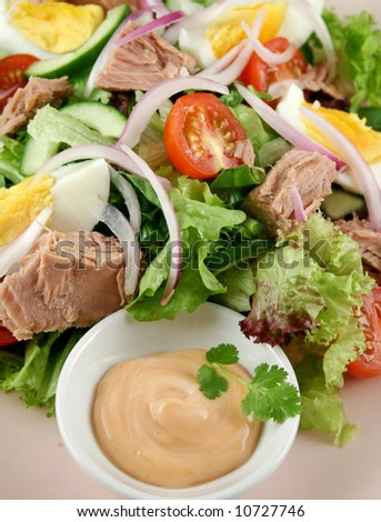 Freshly prepared tuna and egg salad with thousand island dressing.