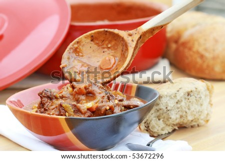 Freshly Prepared Venison Stew With Vegetables In A Rich Broth Could Also Be Used As
