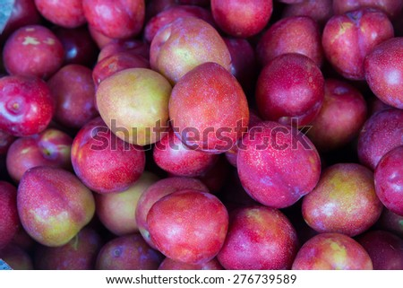 Freshly red Chinese plums at market,Thailand - stock photo