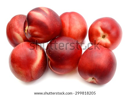 freshly red peaches isolated on white  - stock photo