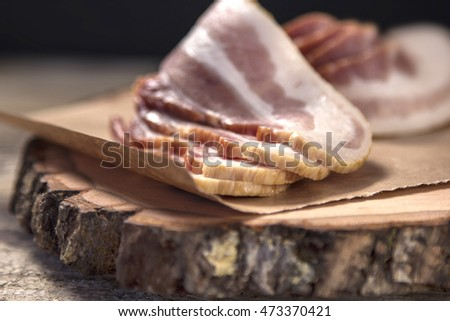 Freshly sliced bacon, Straight from the butcher