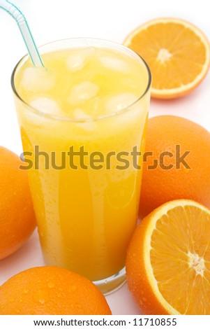 Freshly squeezed ice cold orange juice - stock photo