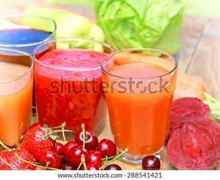 Freshly squeezed juices - stock photo