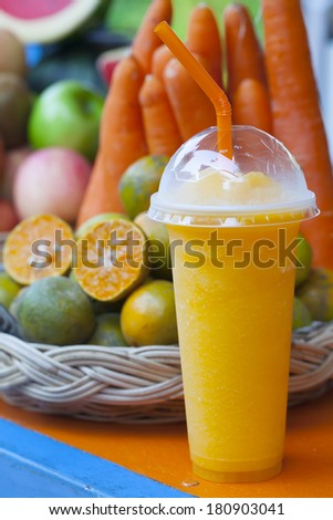 Freshly squeezed orange juice - stock photo