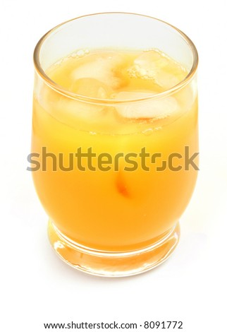 freshly squeezed orange juice against white background, gentle naturat shadow in front
