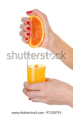 freshly squeezed orange juice. isolated on white background