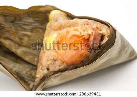 Freshly steamed Chinese zongzi or dumpling for dragon boat festival - stock photo