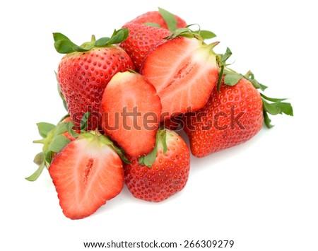 freshly strawberries on white background  - stock photo