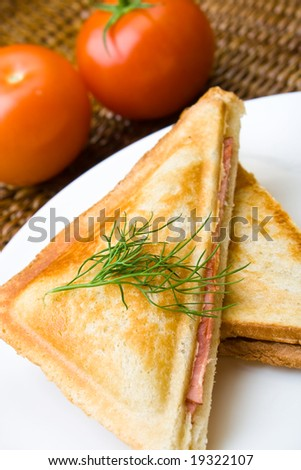 Freshly toasted cheese and ham sandwich with tomatoes - stock photo