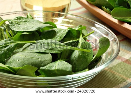 Freshly washed baby spinach leaves in glass bowl with salad oil in background.  Backlit close-up with shallow dof.