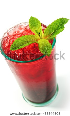 Freshness Berries Alcoholic Cocktail with Fresh Mint - stock photo