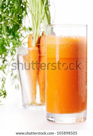 Freshness carrot juice in a glass
