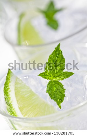 Freshness Cocktail with Mint, Ice and Lime - stock photo