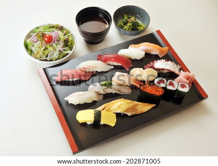 Freshness Japanese sushi with Miso soup and salad-1 - stock photo