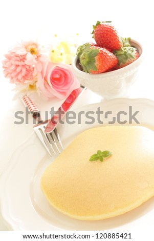 freshness pancake with strawberry on background for western breakfast image
