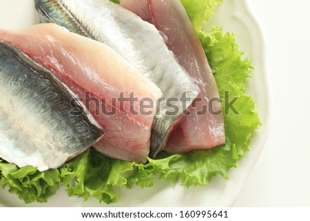 freshness prepared sardines on white dish for food ingredient image