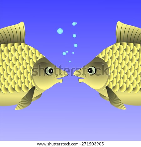 Freshwater Fishes Swimming in the Blue Water. - stock photo