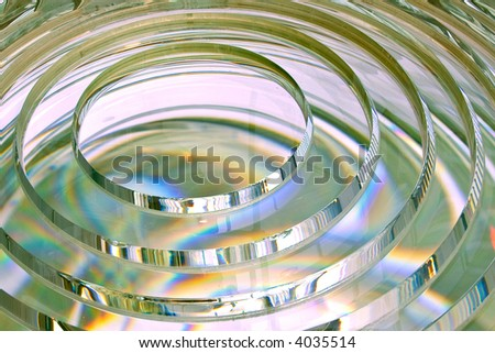 fresnel lens of lighthouse beacon rotated on side - stock photo