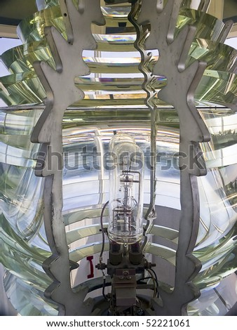 Fresnel Lens, Pemaquid Point Lighthouse, Bristol, Maine - stock photo