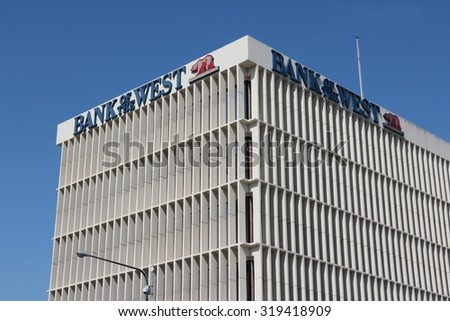 FRESNO, UNITED STATES - APRIL 12, 2014: Bank of the West building in Fresno, California. The bank was founded in 1874 and today is a part of BNP Paribas financial group.