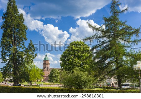 FREUDENSTADT, GERMANY - MAY 20, 2009: The Lower market square with city church in Freudenstadt in the Black Forest, Baden-Wurttemberg, Germany, Europe