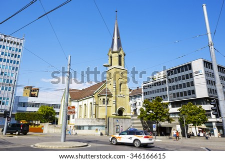 FRIBOURG, SWITZERLAND - SEPTEMBER 10, 2015: Temple of the Reformed Church, was built in 1875, recent renovations were carried out in 2010/11 - stock photo