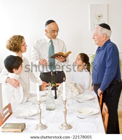 Friday evening Jewish family celebration - stock photo