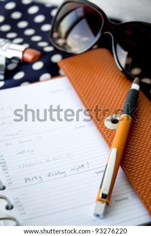 friday night note on lady organizer book - stock photo