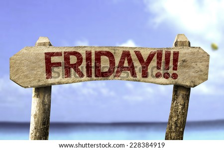 Friday!!! sign with a beach on background - stock photo