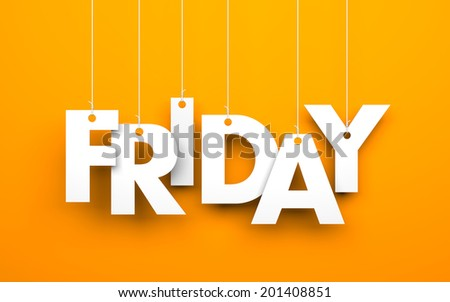 Friday. Text on the string - stock photo